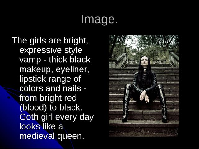 Image. The girls are bright, expressive style vamp - thick black makeup, eyel...