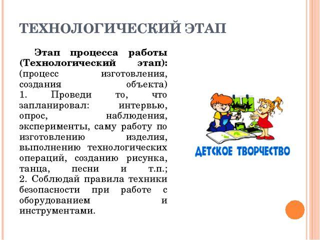 ТЕХНОЛОГИЧЕСКИЙ ЭТАП Этап процесса работы (Технологический этап): (процесс из...