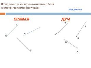 Итак, мы с вами познакомились с 2-мя геометрическими фигурами ПРЯМАЯ ЛУЧ E F