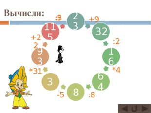 Вычисли: 23 32 16 64 93 1 115 3 8 +9 :2 *4 :8 -5 *31 +22 :? :5
