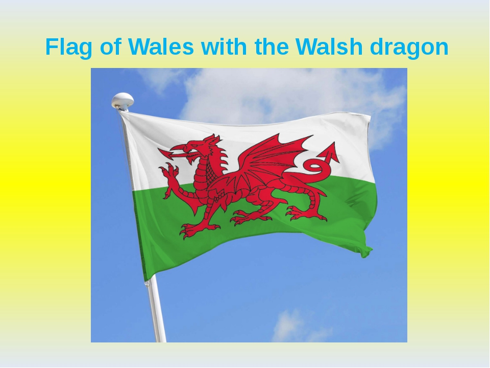 Flag of Wales with the Walsh dragon
