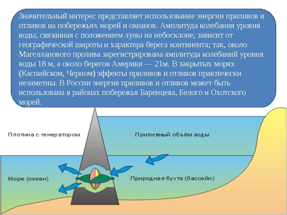 Значительный интерес представляет использование энергии приливов и отливов на...
