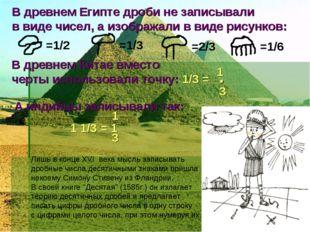 В древнем Египте дроби не записывали в виде чисел, а изображали в виде рисунк