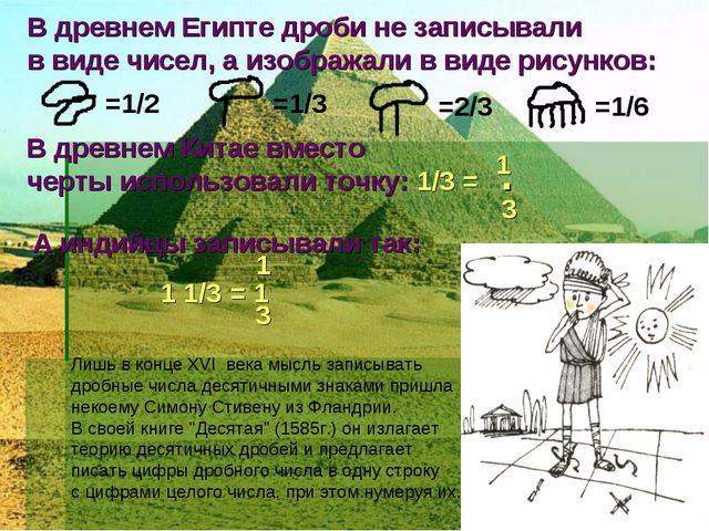 В древнем Египте дроби не записывали в виде чисел, а изображали в виде рисунк...