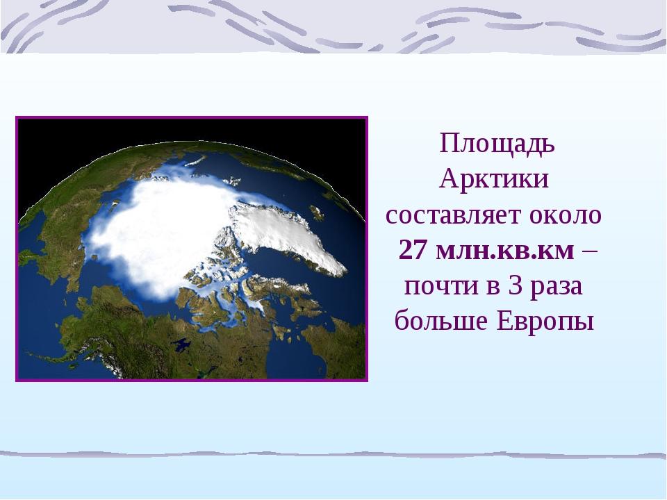 Площадь Арктики составляет около 27 млн.кв.км – почти в 3 раза больше Европы