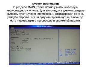 System Information В разделе MAIN, также можно узнать некоторую информацию о