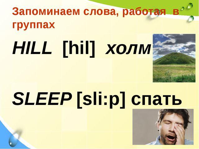 Запоминаем слова, работая в группах HILL [hil] холм SLEEP [sli:p] спать