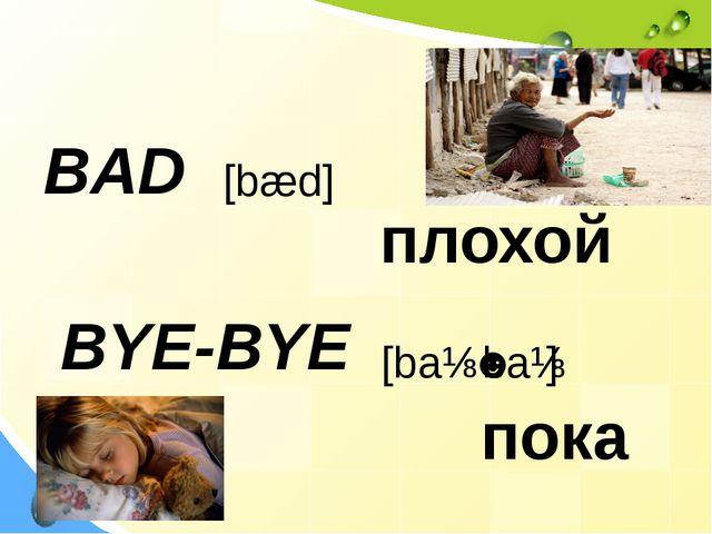 BAD BYE-BYE [bæd] плохой пока [baɪ ˈbaɪ]