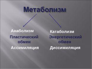 Пластический обмен Ассимиляция Анаболизм Энергетический обмен Диссимиляция К