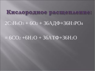2С3Н6О3 + 6О2 + 36АДФ+36Н3РО4 = 6СО2 +6Н2О + 36АТФ+36H2О