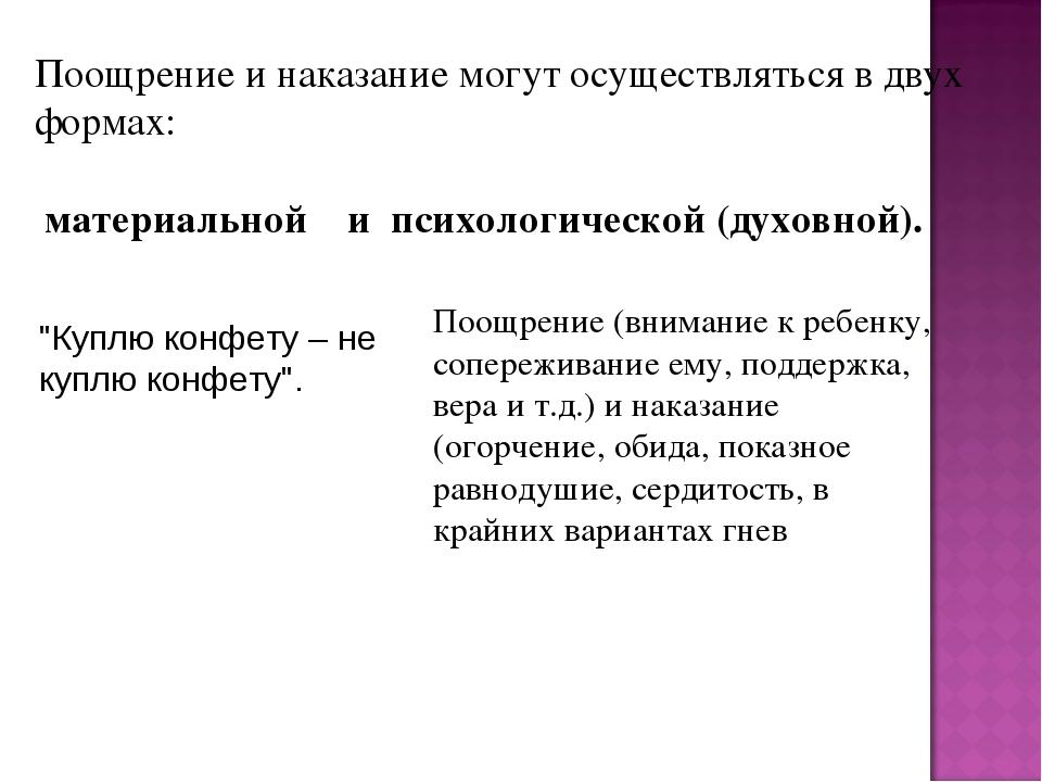 Поощрение и наказание могут осуществляться в двух формах: материальной и псих...
