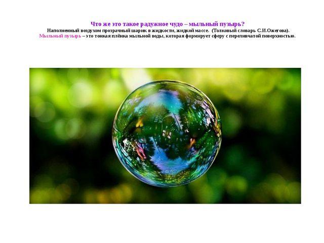 Что же это такое радужное чудо – мыльный пузырь? Наполненный воздухом прозрач...