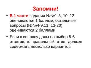 Запомни! В 1 части задания №№1-3, 10, 12 оцениваются 1 баллом, остальные вопр