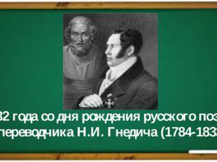 232 года со дня рождения русского поэта и переводчика Н.И. Гнедича (1784-1833