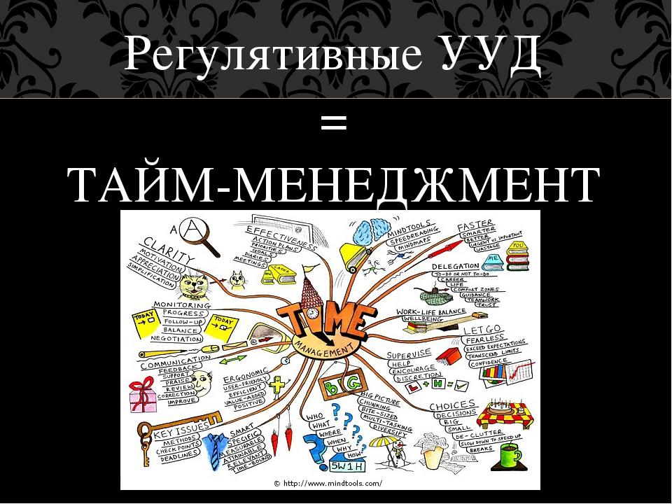 Регулятивные УУД = ТАЙМ-МЕНЕДЖМЕНТ
