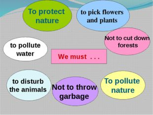 We must . . . To protect nature to pick flowers and plants Not to cut down fo