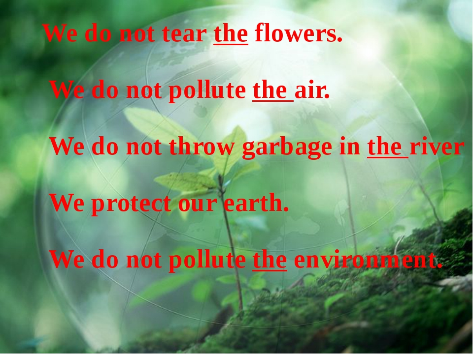 We do not tear the flowers. We do not pollute the air. We do not throw garbag...