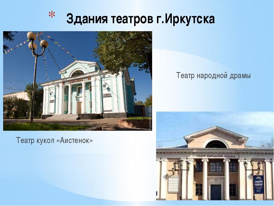 Здания театров г.Иркутска Театр кукол «Аистенок» Театр народной драмы