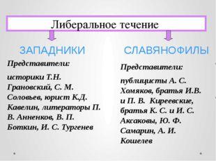 Либеральное течение Представители: историки Т.Н. Грановский, С. М. Соловьев,