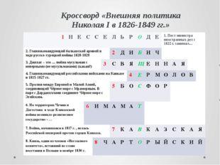 Кроссворд «Внешняя политика Николая I в 1826-1849 гг.» 1 Н Е С С Е Л Ь Р О Д