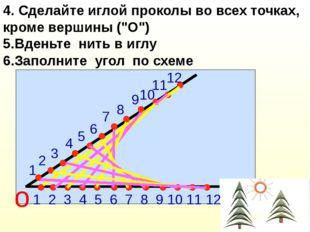 """4. Сделайте иглой проколы во всех точках, кроме вершины (""""О"""") 5.Вденьте нить"""