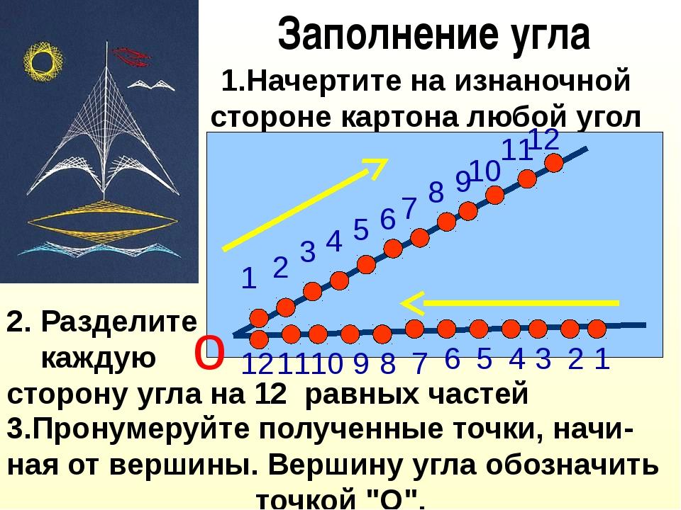 Заполнение угла 1.Начертите на изнаночной стороне картона любой угол 2. Разде...