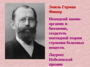 Эмиль Герман Фишер Немецкий химик-органик и биохимик, создатель пептидной тео