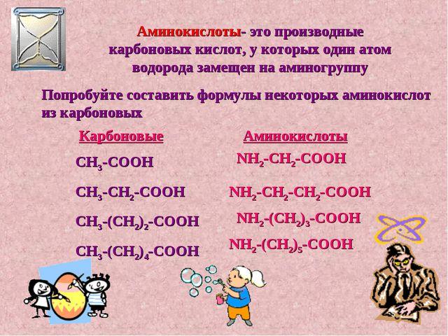 Аминокислоты- это производные карбоновых кислот, у которых один атом водорода...