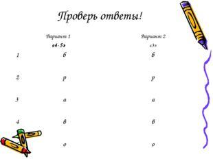 Проверь ответы! Вариант 1 «4-5»Вариант 2 «3» 1бб 2 рр 3 аа 4вв 5оо
