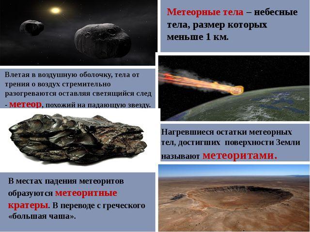 Метеорные тела – небесные тела, размер которых меньше 1 км. Влетая в воздушну...