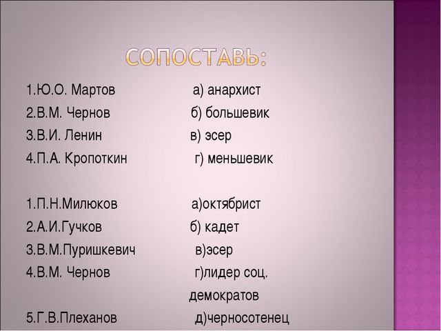 1.Ю.О. Мартов а) анархист 2.В.М. Чернов б) большевик 3.В.И. Ленин в) эсер 4.П...