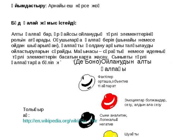 Ойланудың алты қалпағы Толығырақ: http://en.wikipedia.org/wiki/Six_Thinking_H...