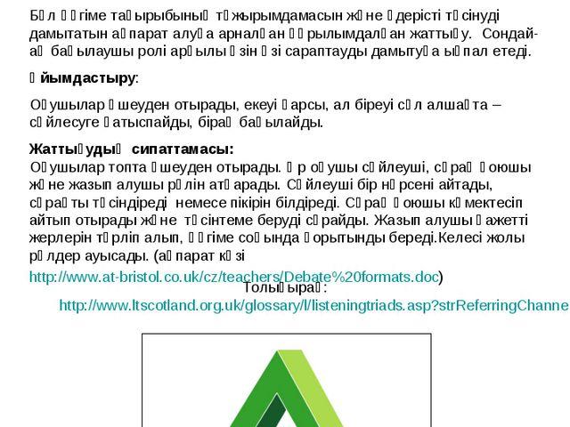 Тыңдап отырған үштік Толығырақ: http://www.ltscotland.org.uk/glossary/l/liste...
