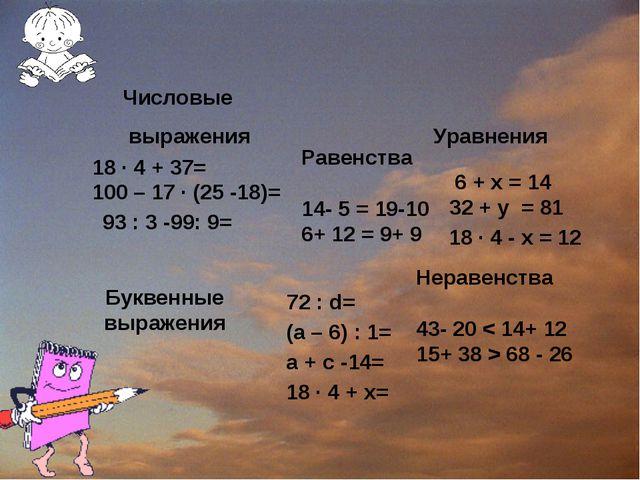 Числовые выражения Уравнения Буквенные выражения 18 ∙ 4 + 37= 6 + х = 14 32 +...