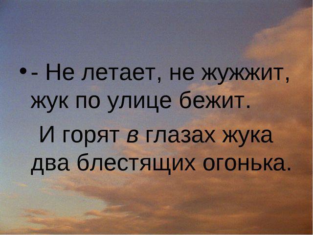 - Не летает, не жужжит, жук по улице бежит. И горят в глазах жука два блестящ...
