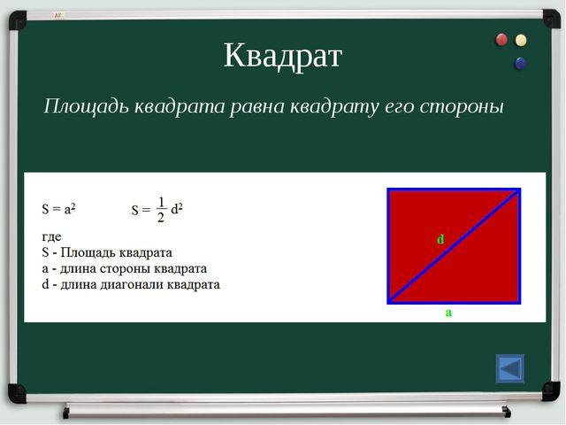 Квадрат Площадь квадрата равна квадрату его стороны