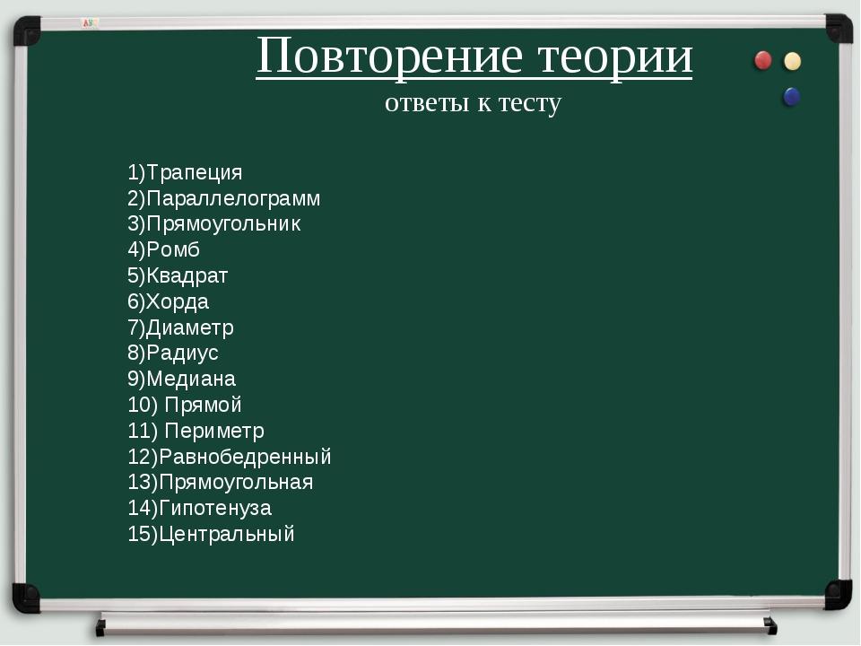 Повторение теории ответы к тесту 1)Трапеция 2)Параллелограмм 3)Прямоугольник...