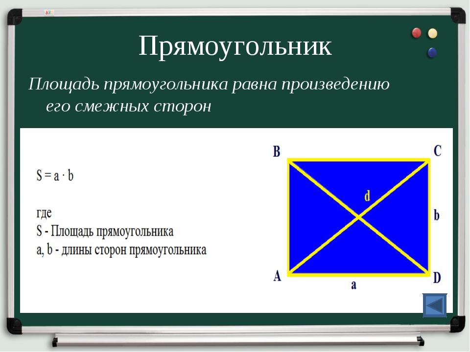 Прямоугольник Площадь прямоугольника равна произведению его смежных сторон