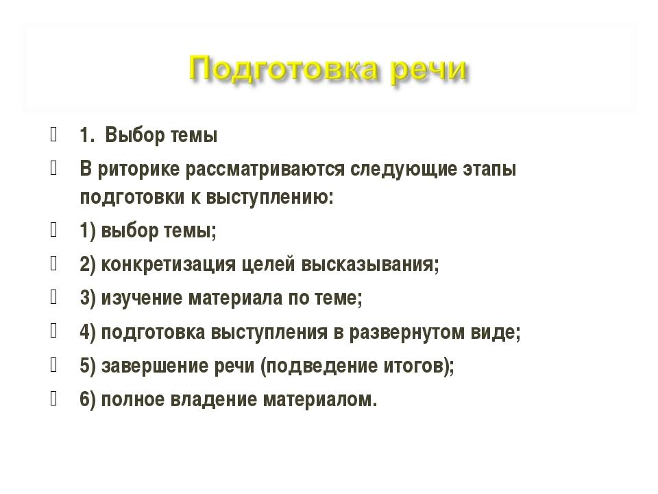 1. Выбор темы В риторике рассматриваются следующие этапы подготовки к выступл...