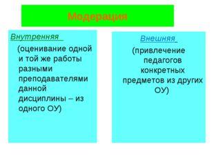 Модерация Внутренняя (оценивание одной и той же работы разными преподавателям