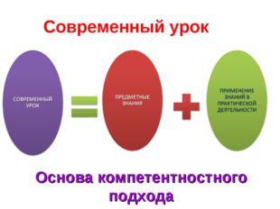 Современный урок Основа компетентностного подхода