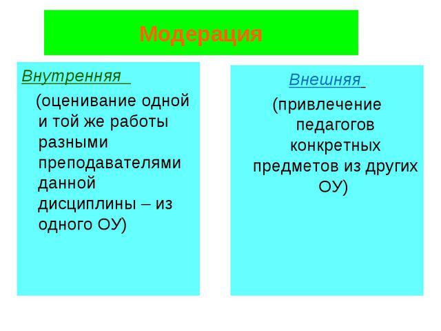 Модерация Внутренняя (оценивание одной и той же работы разными преподавателям...