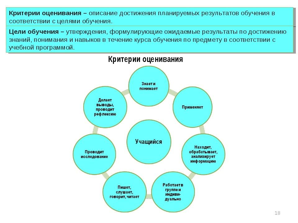 Критерии оценивания – описание достижения планируемых результатов обучения в...