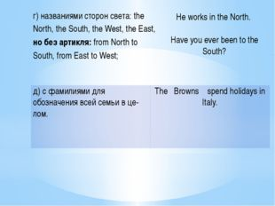 г)названиями сторон света: the North, the South, the West, the East, но без