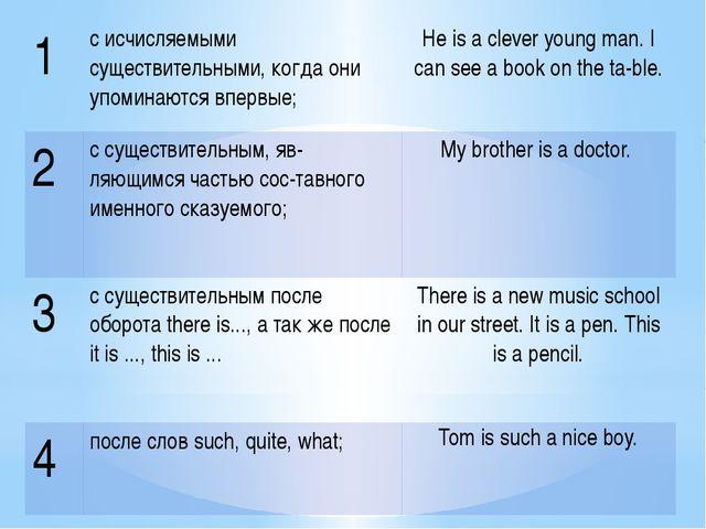 1 с исчисляемыми существительными, когда они упоминаются впервые; He is a cle...