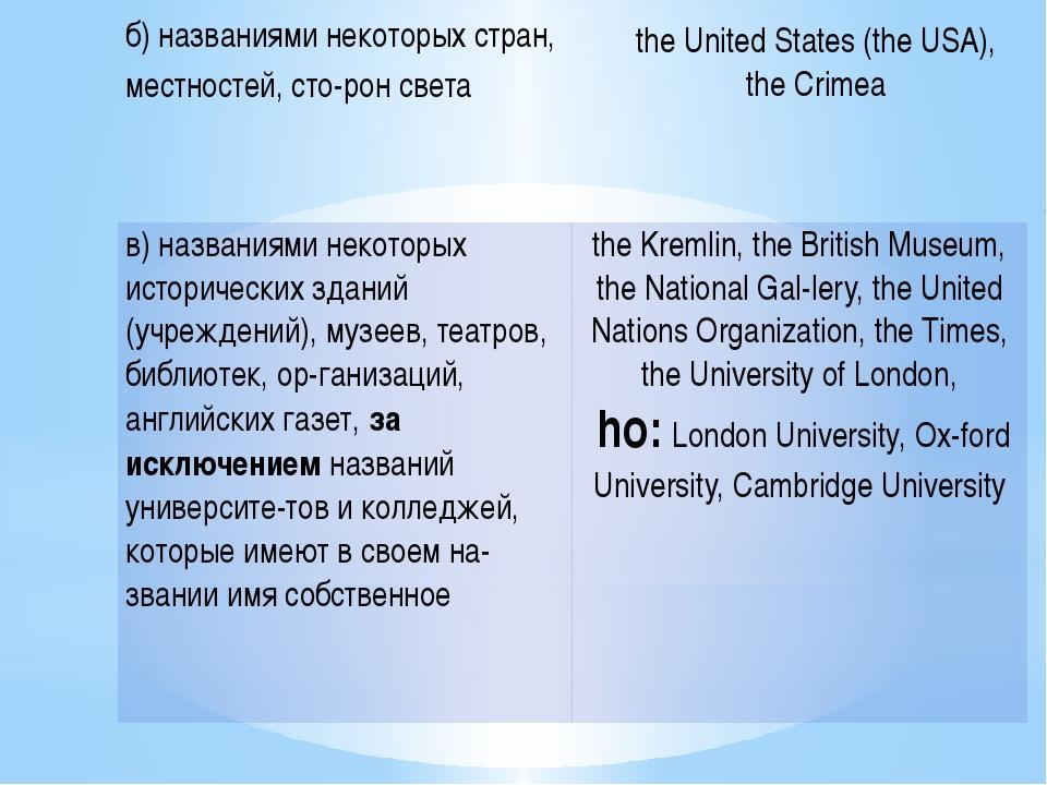 б)названиями некоторых стран, местностей, сторон света the United States (t...