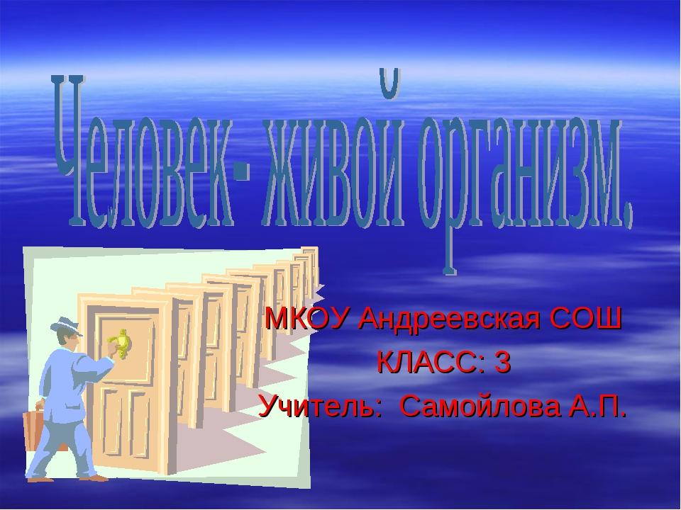 МКОУ Андреевская СОШ КЛАСС: 3 Учитель: Самойлова А.П.