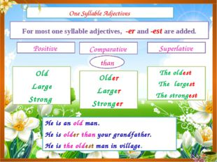 One Syllable Adjectives Positive Comparative Superlative For most one syllabl