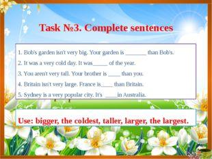 1. Bob's garden isn't very big. Your garden is _______ than Bob's. 2. It was