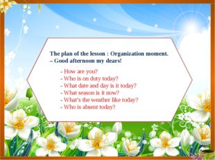 The plan of the lesson : Organization moment. – Good afternoon my dears! - Ho